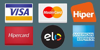 Aceitamos Visa, Mastercard, Hiper, Hipercard, Elo e American Express