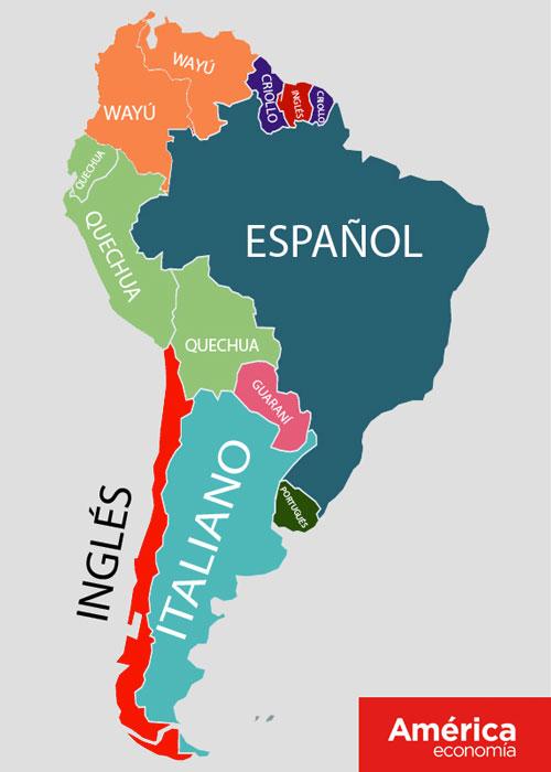 Na Bolívia, Equador e Peru, o segundo idioma oficial é o quéchua, falado por grupos étnicos andinos espalhados pelos três países. Já no Paraguai, o segundo idioma mais falado é o guarani. Devido aos muitos laços comerciais com os Estados Unidos e Reino Unido, o Chile tem como segundo idioma mais falado o inglês, assim como o Suriname. Ainda na parte norte da América do Sul, o crioulo é adotado como segunda língua na Guiana e na Guiana Francesa. Já na Colômbia e na Venezuela, o segundo idioma mais falado é o wayú. Veja o infográfico dos idiomas a seguir.